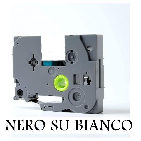 9mmX8m Nastro laminato compatibile per Brother TZe-221 nero su bianco