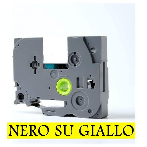 6mmX8m Nastro laminato compatibile per Brother TZe-611 nero su giallo