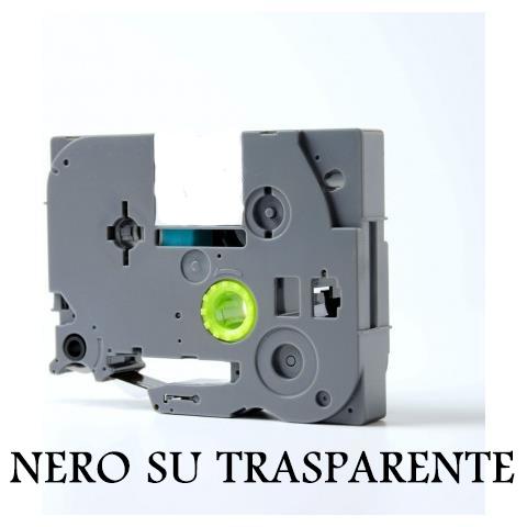 9mmX8m Nastro laminato compatibile per Brother TZe-121 nero su trasparente