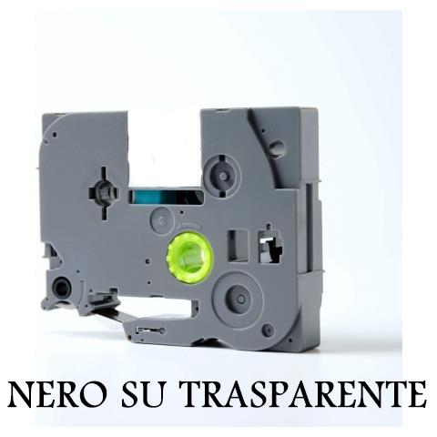 12mmX8m Nastro laminato compatibile per Brother TZe-131 nero su trasparente