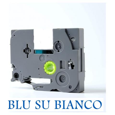 12mmX8m Nastro laminato compatibile per Brother TZe-233 blu su bianco