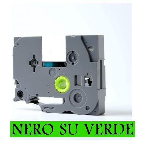 9mmX8m Nastro laminato compatibile per Brother TZe-721 nero su verde