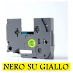 9mmX8m Nastro laminato compatibile per Brother TZe-FX621 nero su giallo