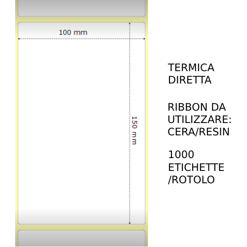 Trasferimento termico Etichette permanente per ZEBRA 100mm*150mm 1000pz utilizzo con Ribbon