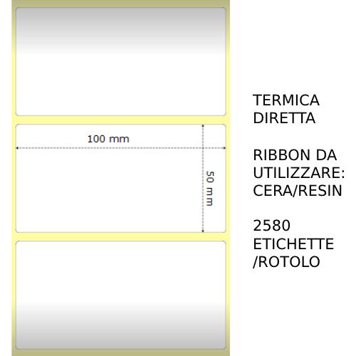 Trasferimento termico Etichette permanente per ZEBRA 100mm*50mm 2580pz utilizzo con Ribbon